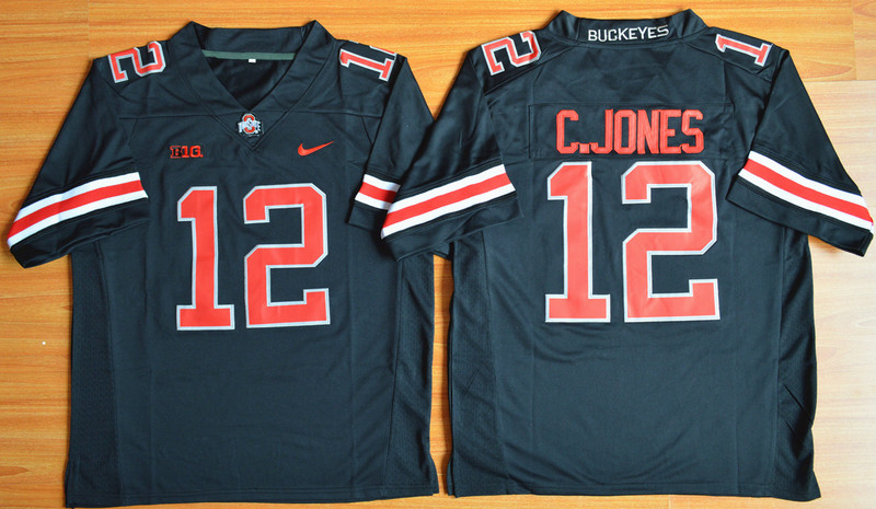 NCAA Ohio State Buckeyes 12 Cardale Jones Blackout 2015 Football Jersey