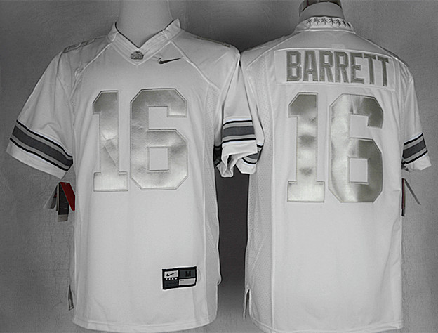 NCAA Ohio State Buckeyes 16 J.T. Barrett White Platinum Limited College Football Jersey
