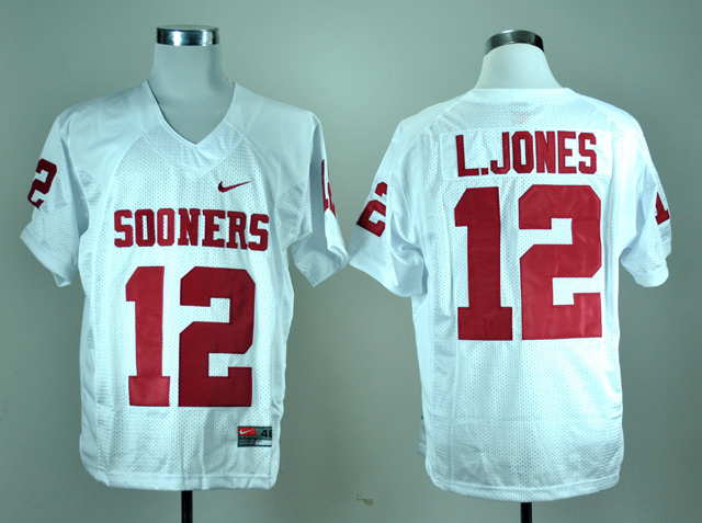 NCAA Oklahoma Sooners 12 Landy Jones White Nike College Football Jersey