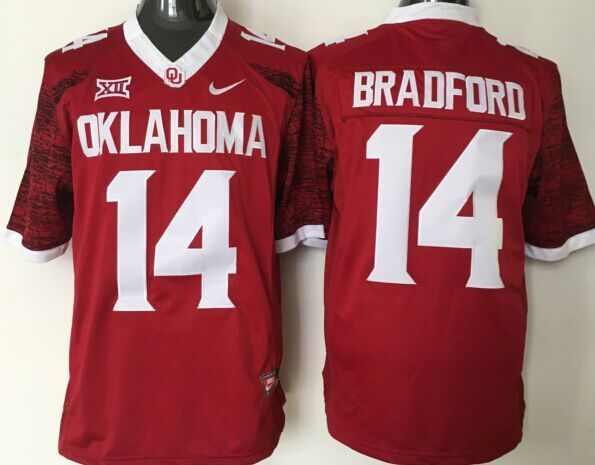 NCAA Oklahoma Sooners 14 Bradford red jerseys