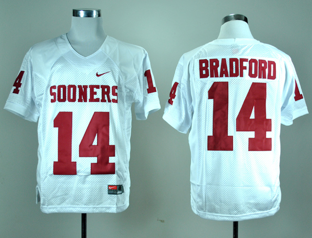 NCAA Oklahoma Sooners 14 Sam Bradford White Nike College Football Jersey