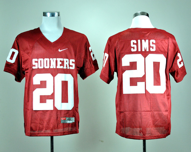 NCAA Oklahoma Sooners 20 Billy Sims Red Nike College Football Jersey