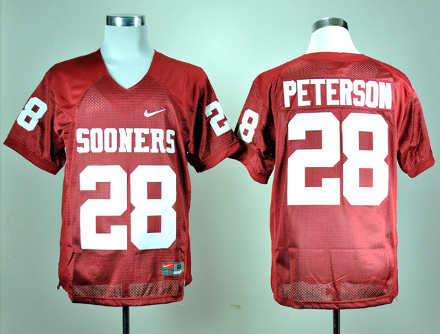 NCAA Oklahoma Sooners 28 Adrian Peterson Red Nike College Football Jersey