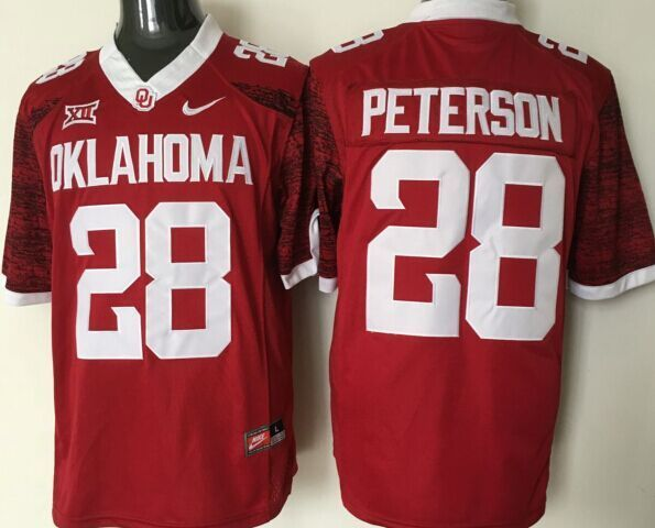 NCAA Oklahoma Sooners 28 peterson red Jerseys