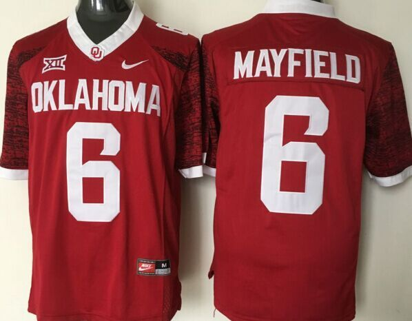 NCAA Oklahoma Sooners 6 Mayfield Red Jerseys