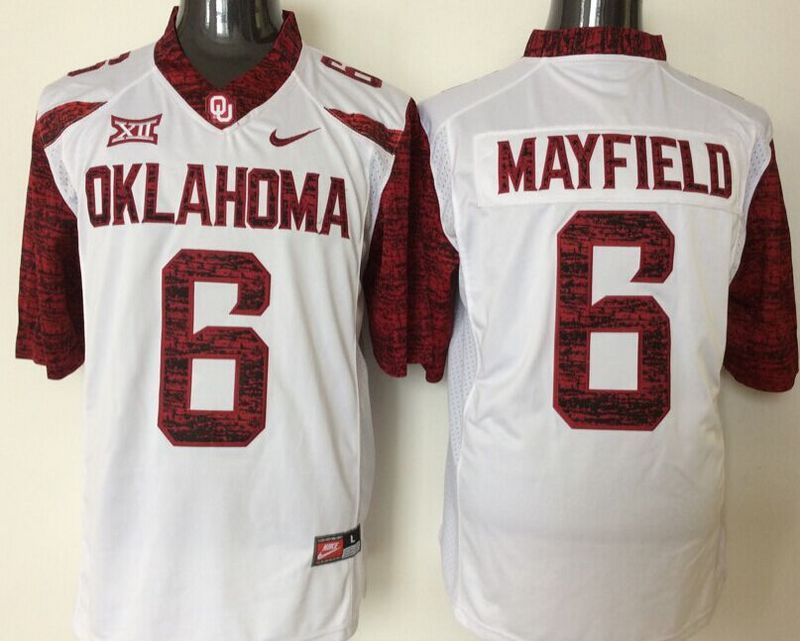 NCAA Oklahoma Sooners 6 Mayfield White Jerseys