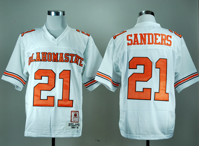 NCAA Oklahoma State Cowboys 21 Barry Sanders White College Football Throwback Jersey.