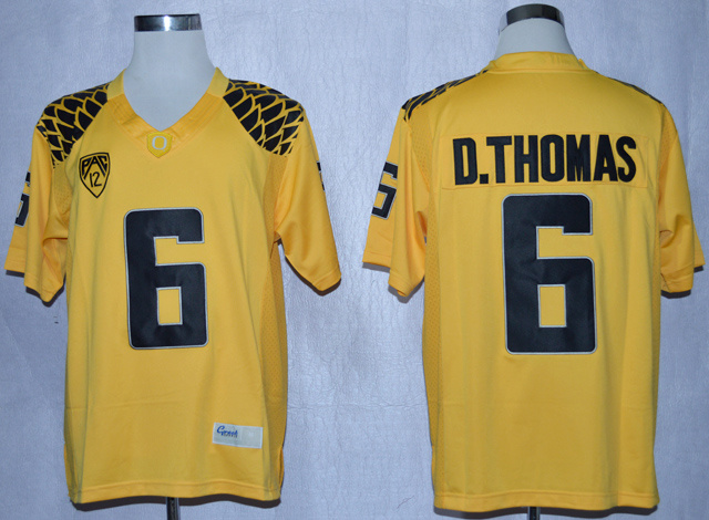 NCAA Oregon Duck 6 De'Anthony Thomas Yellow College Football Limited Jerseys