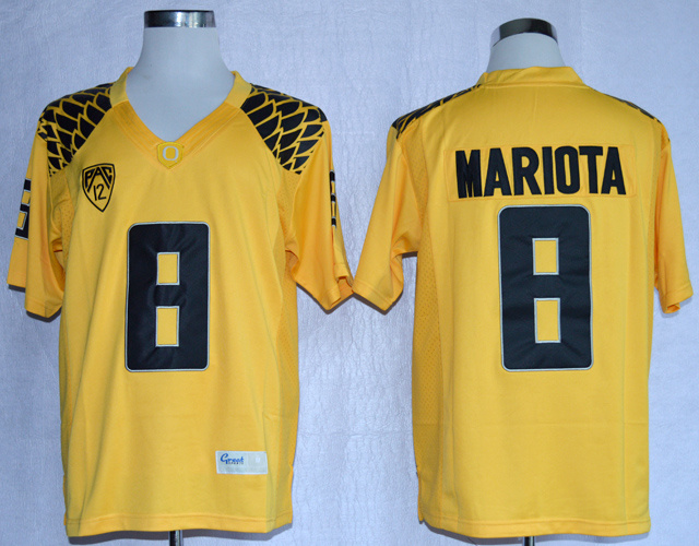 NCAA Oregon Duck 8 Marcus Mariota Yellow College Football Limited Jerseys