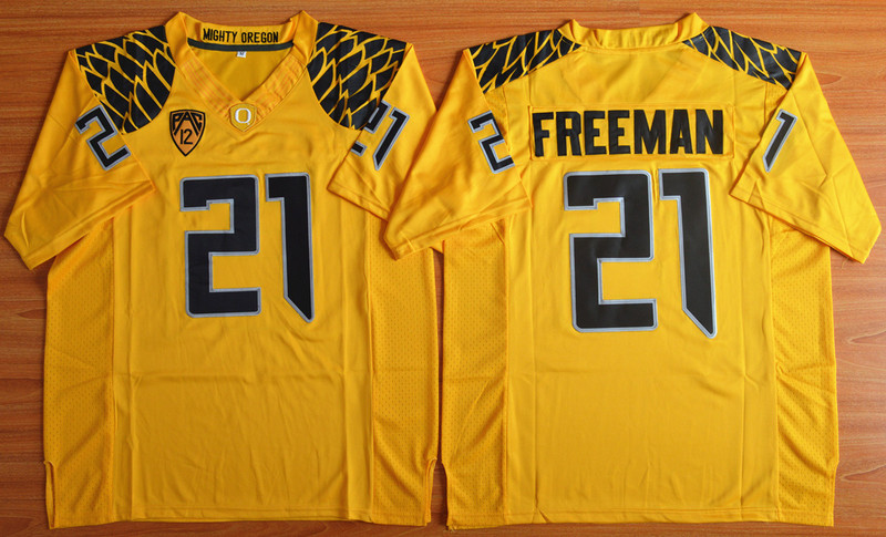 NCAA Oregon Ducks 21 Royce Freeman Yellow Football Limited Jersey