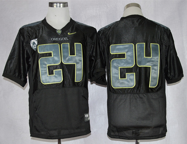 NCAA Oregon Ducks 24 Thomas Tyner Black Pro Combat Football Jersey