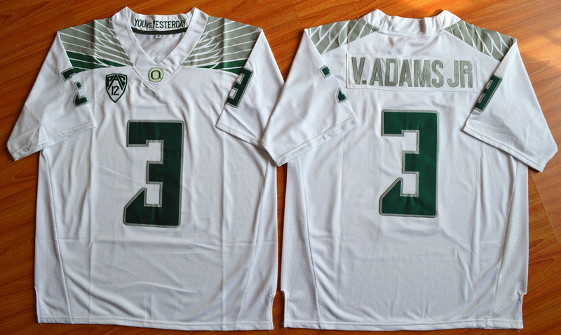 NCAA Oregon Ducks 3 V.Adams Jr white 2015 Football Jersey