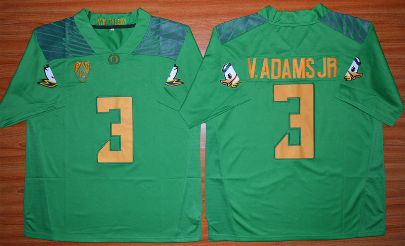 NCAA Oregon Ducks 3 Vernon Adams Jr green 2015 Football Jersey