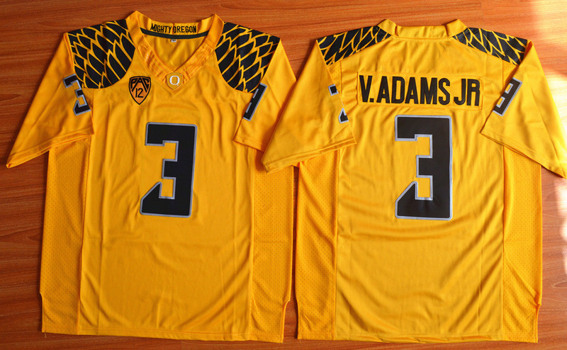 NCAA Oregon Ducks 3 Vernon Adams Jr yellow 2015 Football Jersey