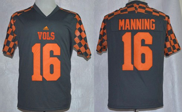 NCAA Tennessee Volunteers 16 Peyton Manning Gray adidas Event Jersey.