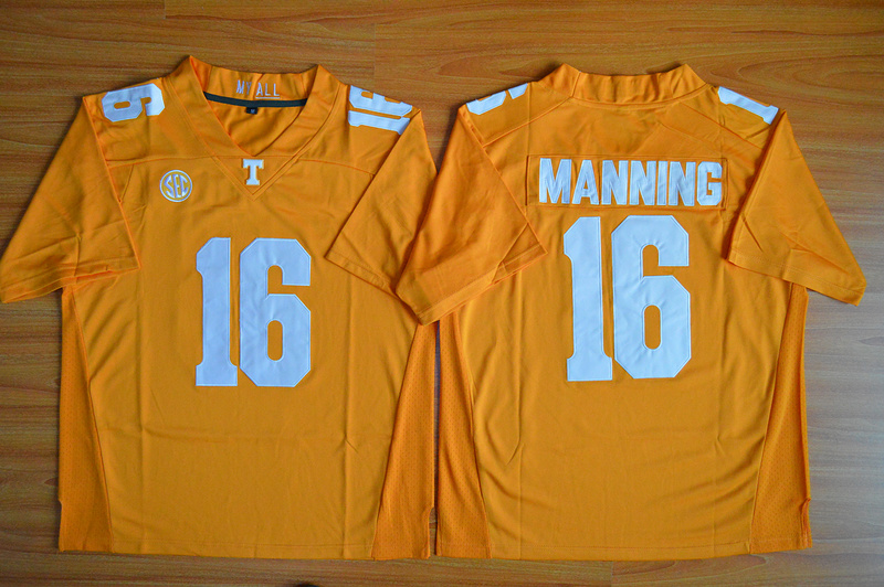 NCAA Tennessee Volunteers 16 Peyton Manning Orange Football Jersey.