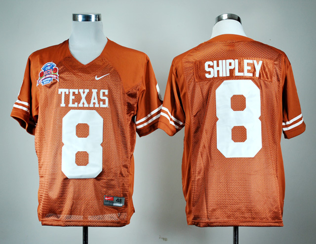 NCAA Texas Longhorns 8 Jordan Shipley Burnt Orange BCS Patch College Football Jersey