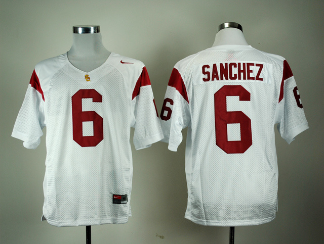 NCAA USC Trojans 6 Mark Sanchez White Nike College Football Jersey