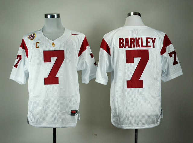 NCAA USC Trojans 7 Matt Barkley White Nike Pac-12 C Patch College Football Jersey
