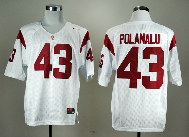 NCAA USC Trojans Troy 43 Polamalu White Nike College Football Jersey.