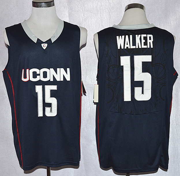 Uconn Huskies Kemba Walker 15 College Basketball Jersey - Navy Blue