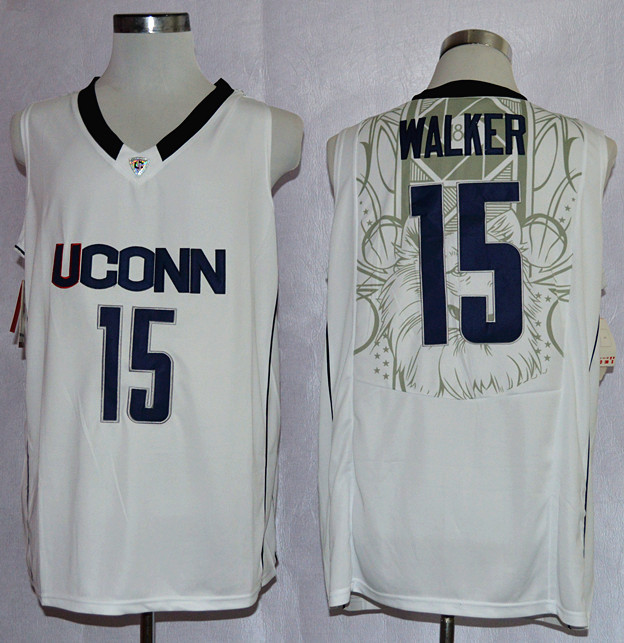 Uconn Huskies Kemba Walker 15 College Basketball Jersey - White
