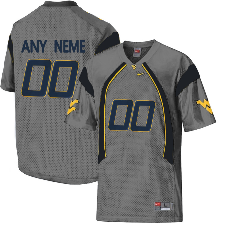 West Virginia Mountaineers Customized College Football Mesh Jersey Grey