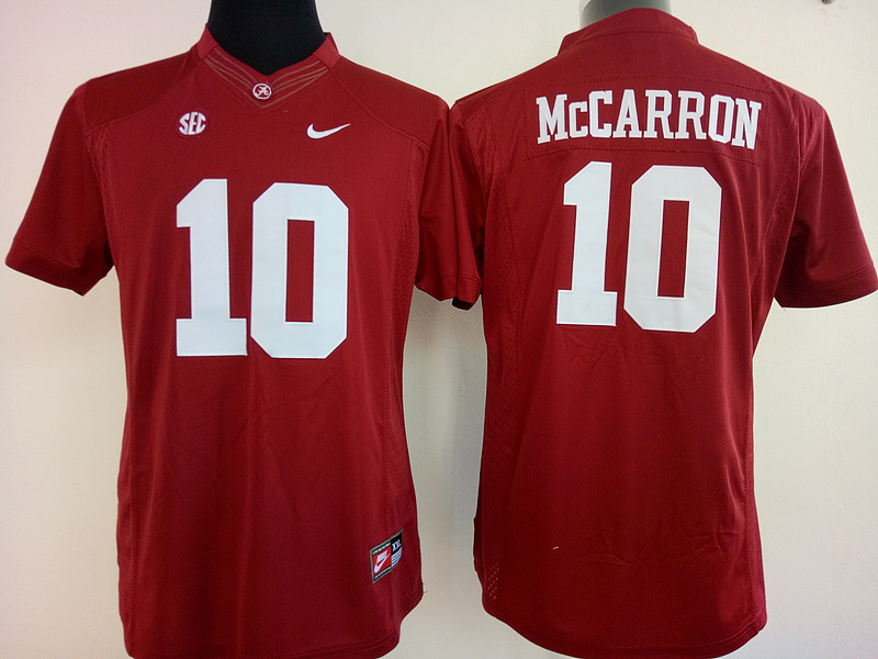 Womens 2016 NCAA Alabama Crimson Tide 10 Mccarron Red Jerseys