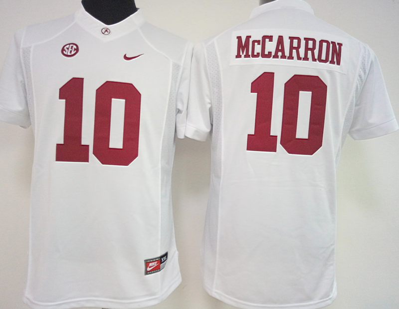 Womens 2016 NCAA Alabama Crimson Tide 10 Mccarron White Jerseys