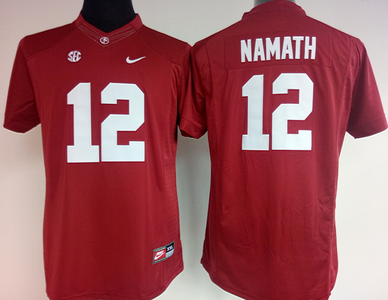 Womens 2016 NCAA Alabama Crimson Tide 12 Namath Red Jerseys