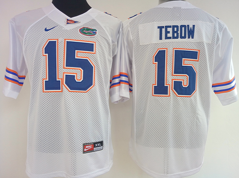 Womens 2016 NCAA Florida Gators 15 Tebow White Jerseys