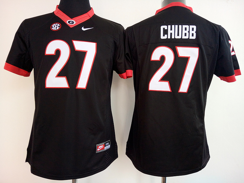 Womens 2016 NCAA Georgia Bulldogs 27 Chubb Black Jerseys