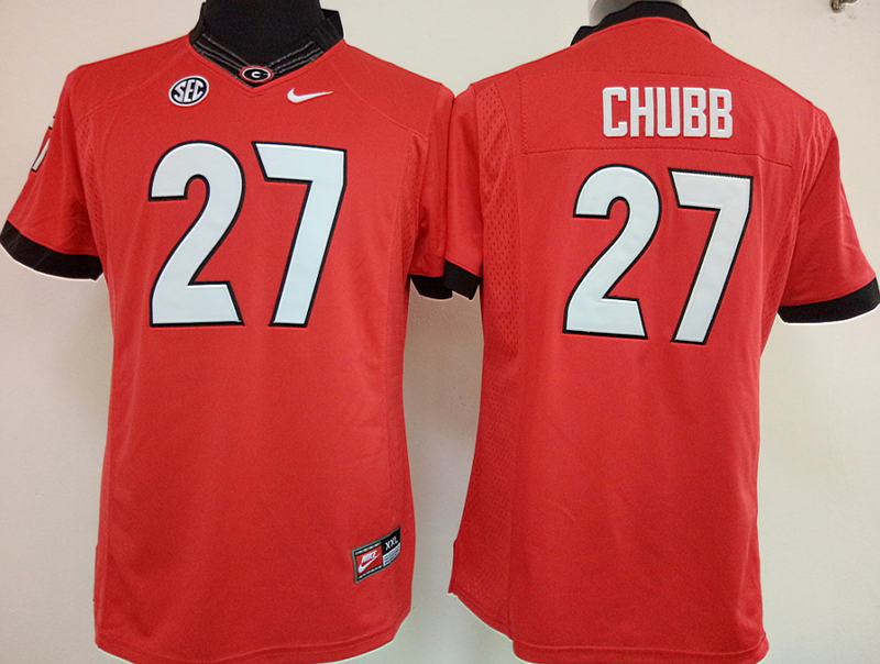 Womens 2016 NCAA Georgia Bulldogs 27 Chubb Red Jerseys