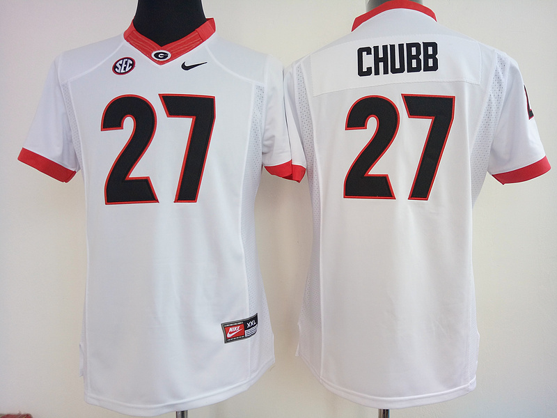 Womens 2016 NCAA Georgia Bulldogs 27 Chubb White Jerseys
