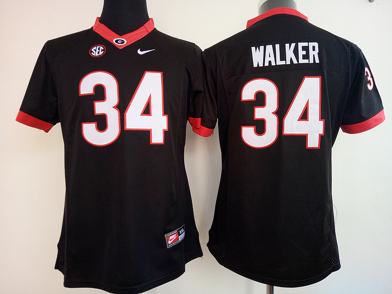 Womens 2016 NCAA Georgia Bulldogs 34 Walker Black Jerseys