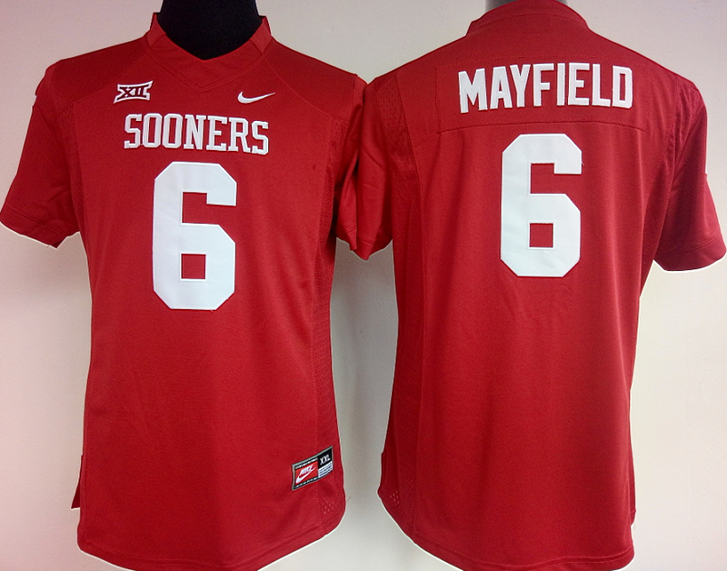Womens 2016 NCAA Oklahoma Sooners 6 Mayfield Red Jerseys