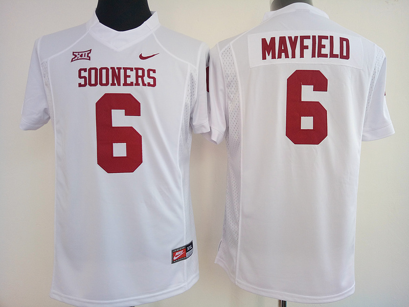 Womens 2016 NCAA Oklahoma Sooners 6 Mayfiels White Jerseys