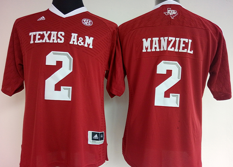 Womens 2016 NCAA Texas A&M Aggies 2 Manziel Red Jerseys