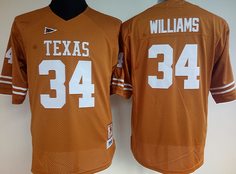 Womens 2016 NCAA Texas Longhorns 34 Williams Yellow Jerseys