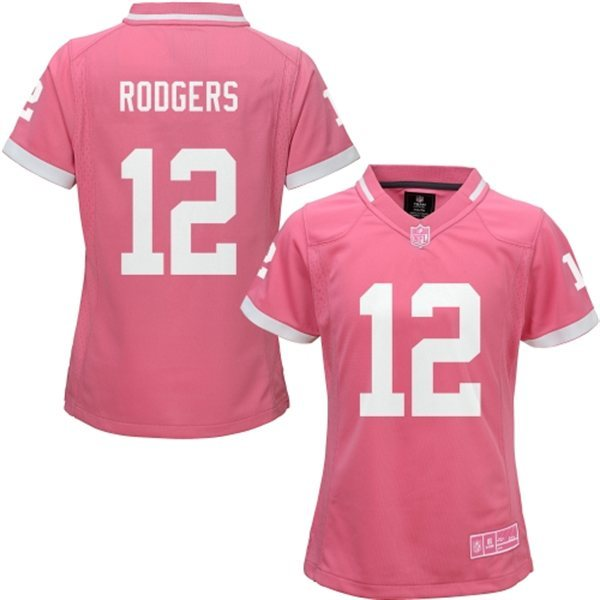Womens Green Bay Packers 12 Rodgers 2015 Pink Bubble Gum Jersey