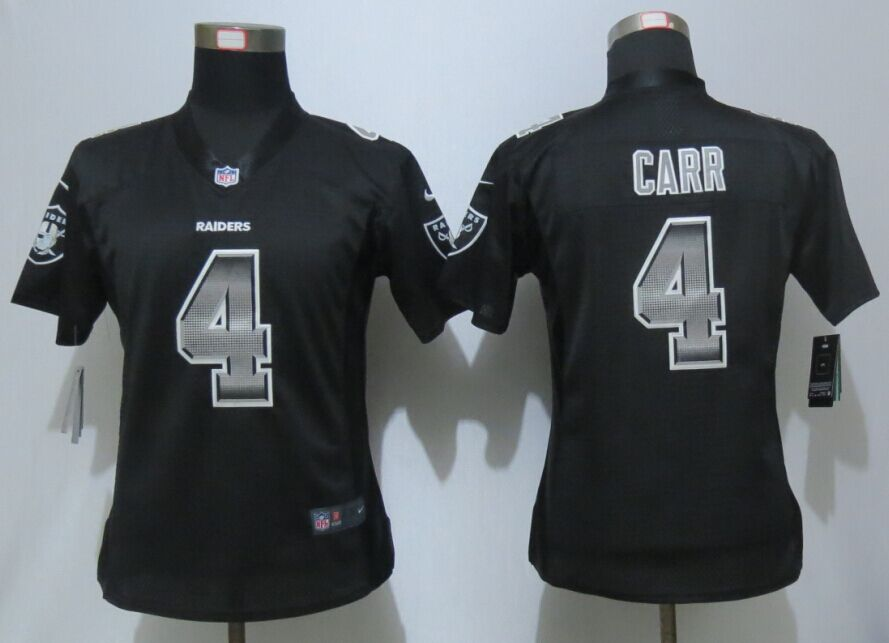Womens Oakland Raiders 4 Carr Black Strobe New Nike Elite Jersey