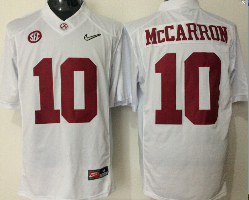 Youth 2016 NCAA Alabama Crimson Tide 10 Mccarron White Jerseys