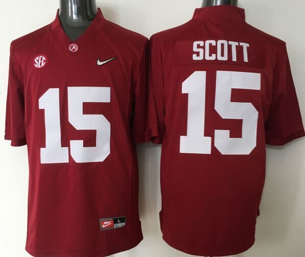 Youth 2016 NCAA Alabama Crimson Tide 15 Scott Red Jerseys