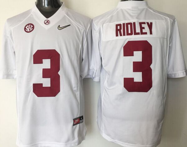 Youth 2016 NCAA Alabama Crimson Tide 3 Ridley White Jerseys