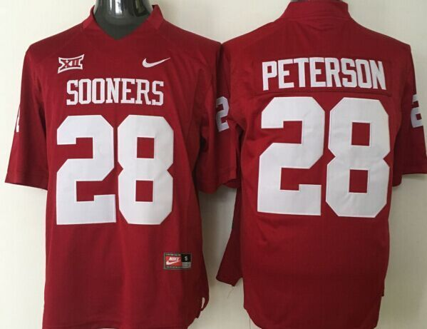 Youth 2016 NCAA Oklahoma Sooners 28 Peterson Red Jerseys