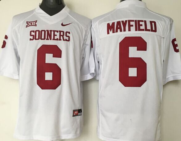Youth 2016 NCAA Oklahoma Sooners 6 Mayeield White Jerseys