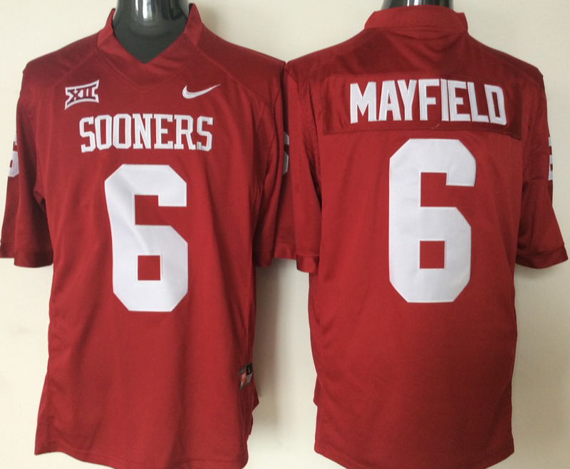 Youth 2016 NCAA Oklahoma Sooners 6 Mayfield Red Jerseys