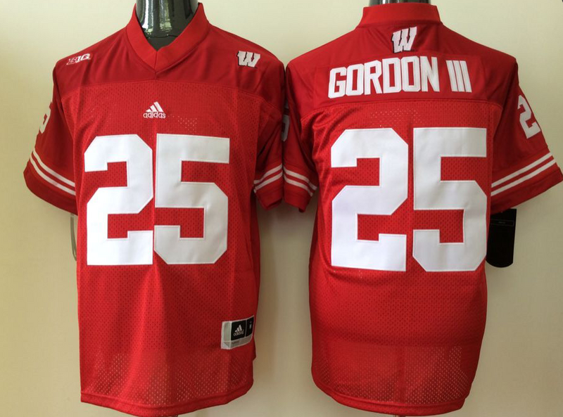 Youth 2016 NCAA Wisconsin Badgers 25 Gordon iii Red Jerseys