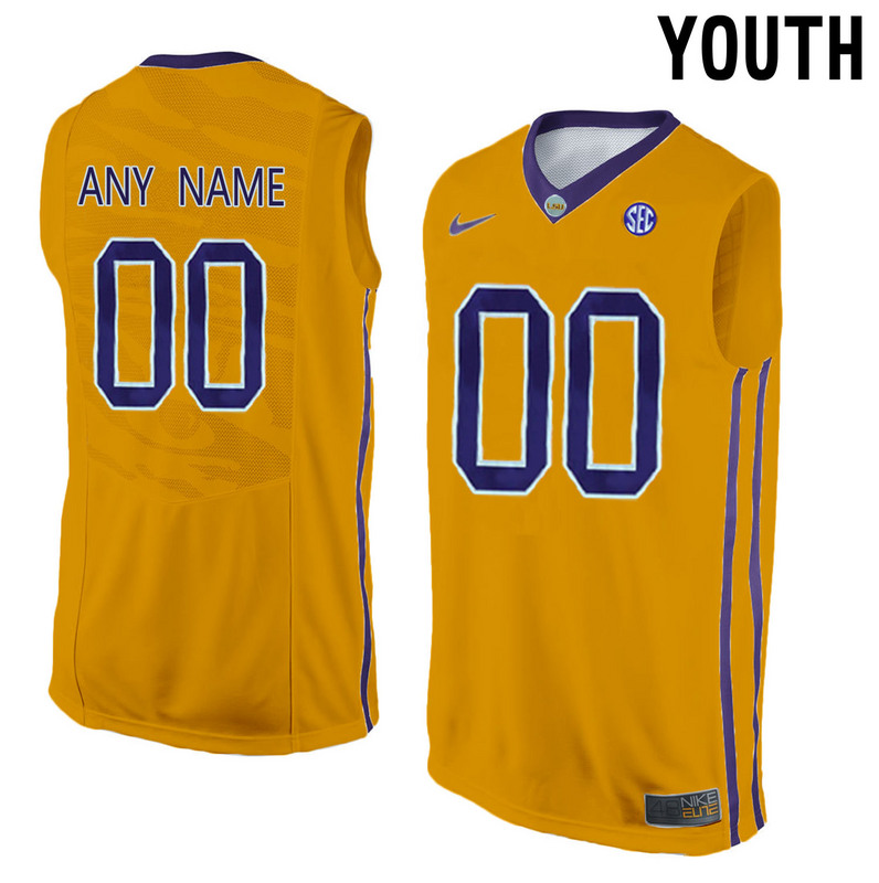 Youth LSU Tigers Customized College Basketball Elite Jersey Gold