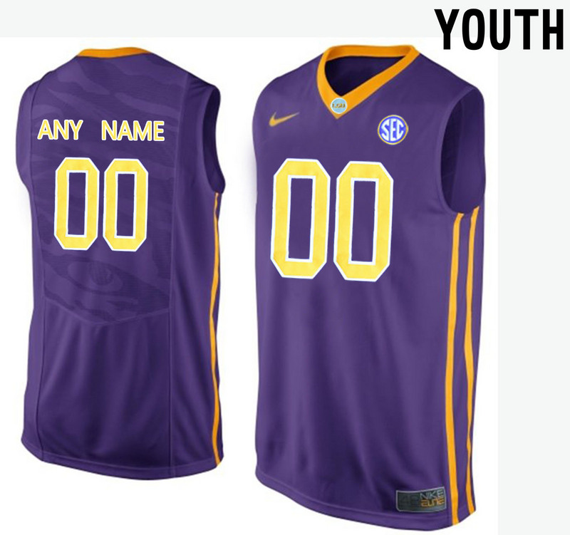 Youth LSU Tigers Customized College Basketball Elite Jersey Purple